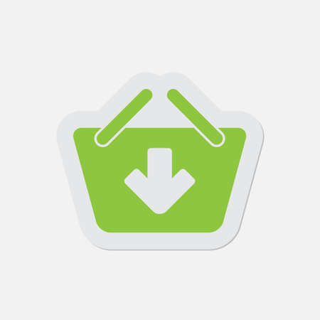 simple green icon with contour and shadow - shopping basket add on a white background Illustration