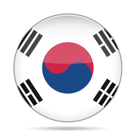 button with national flag - Republic of Korea and shadow