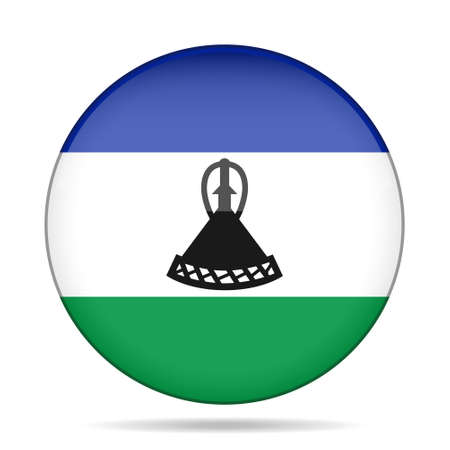 National flag of Lesotho. Shiny round button with shadow. Illustration