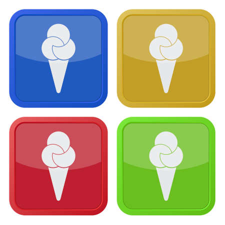 set of four colored square icons - ice cream with three scoops Illustration