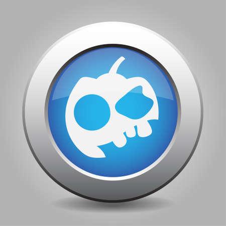 metallic button: Blue metallic button with shadow. White icon. Pumpkin with three teeth and cap. Illustration