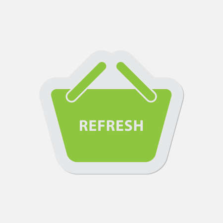 go to store: simple green icon with contour and shadow - shopping basket refresh on a white background Illustration