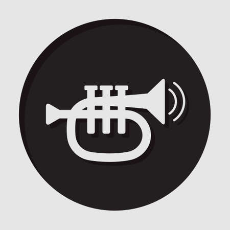 vibration: information icon - dark circle, white trumpet, sound, two vibration waves and shadow