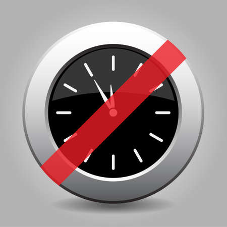 gray chrome button with no last minute clock- banned icon Illustration