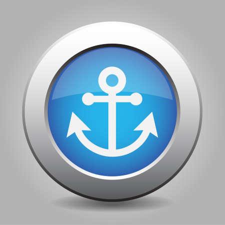 metallic button: Blue metallic button with shadow. White anchor icon.