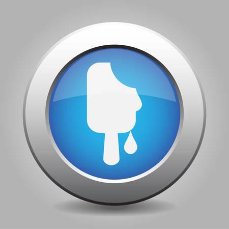 metallic button: Blue metallic button with shadow. White melting stick ice cream icon. Illustration