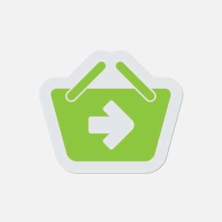 navigational light: simple green icon with light gray contour and shadow - shopping basket next on a white background