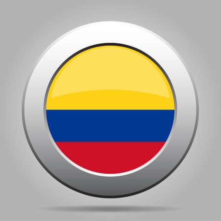 colombian: National flag of Colombia. Shiny metal gray round button with shadow.