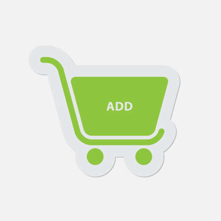 navigational light: simple green icon with light gray contour and shadow - shopping cart add on a white background