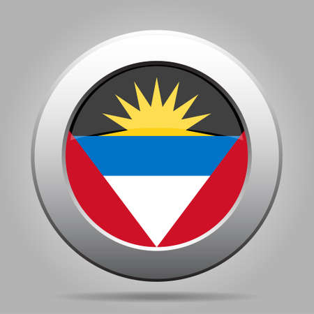 barbuda: National flag of Antigua and Barbuda. Shiny metal gray round button with shadow. Illustration