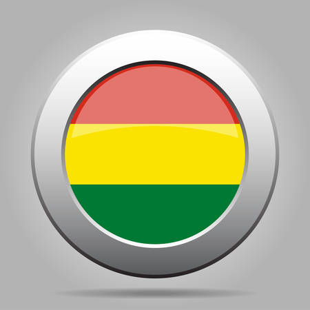 metal button: National flag of Bolivia. Shiny metal gray round button with shadow.