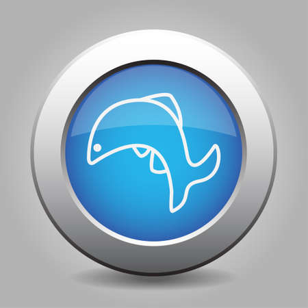 Blue metallic button with shadow. White fish jumping icon.