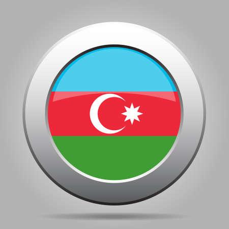 National flag of Azerbaijan. Shiny metal gray round button with shadow.