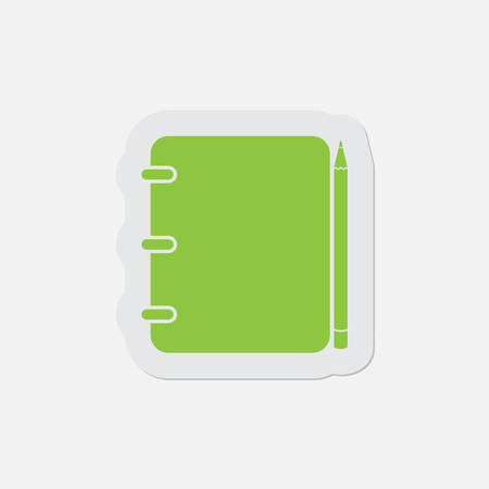 binding: simple green icon with light gray contour and shadow - spiral binding notepad and pencil on a white background