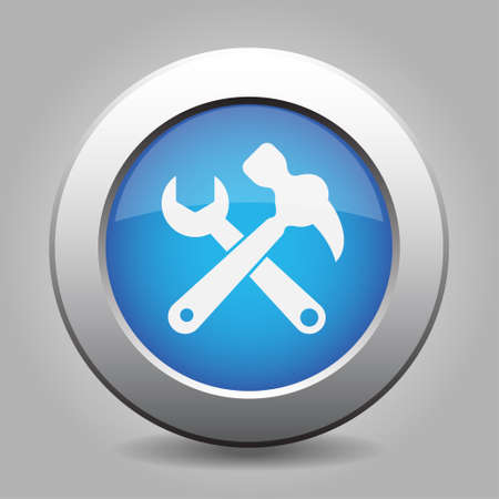 metallic button: Blue metallic button with shadow. White claw hammer with spanner icon.