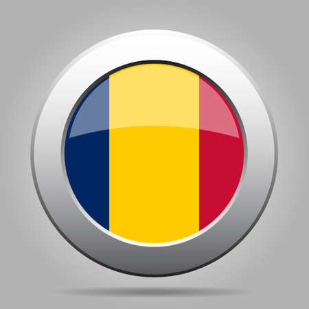 National flag of Chad. Shiny metal gray round button with shadow.