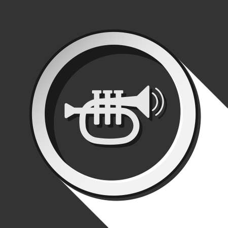 vibration: black and white round - trumpet, sound and two vibration waves icon with long shadow