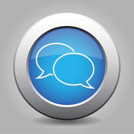metallic button: Blue metallic button with shadow. White speech bubbles icon.
