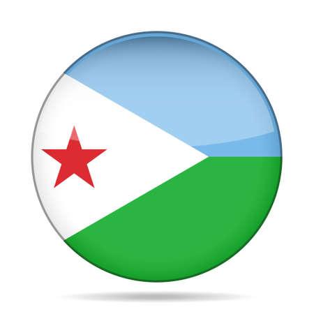 djibouti: National flag of Djibouti. Shiny round button with shadow.