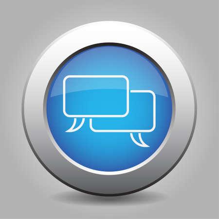 metallic button: blue metallic button with shadow, white speech bubbles icon
