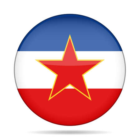former yugoslavia: National flag of Yugoslavia. Shiny round button with shadow.