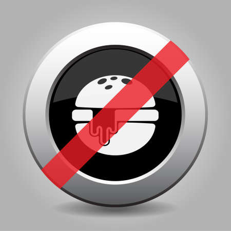 metallic button: Black and gray metallic button with shadow. White hamburger with melted cheese - banned icon.