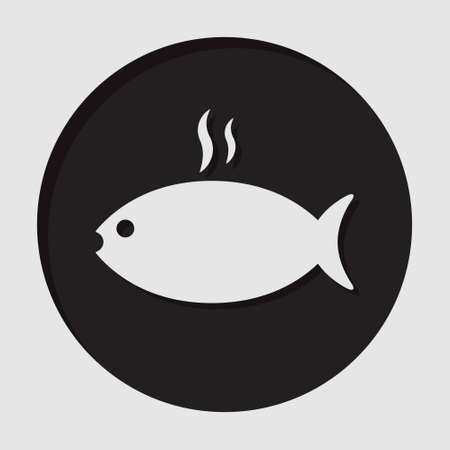 information icon - black circle, white grilling fish with smoke and shadow Illustration