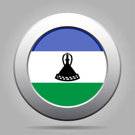 lesotho: National flag of Lesotho. Shiny metal gray round button with shadow. Illustration