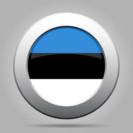 metal button: National flag of Estonia. Shiny metal gray round button with shadow. Illustration