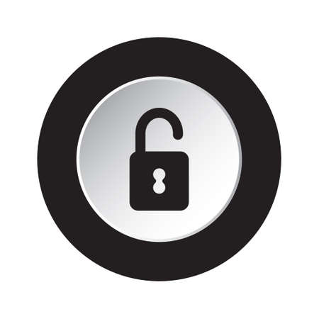 unprotected: isolated round black and white button with black open padlock icon Illustration