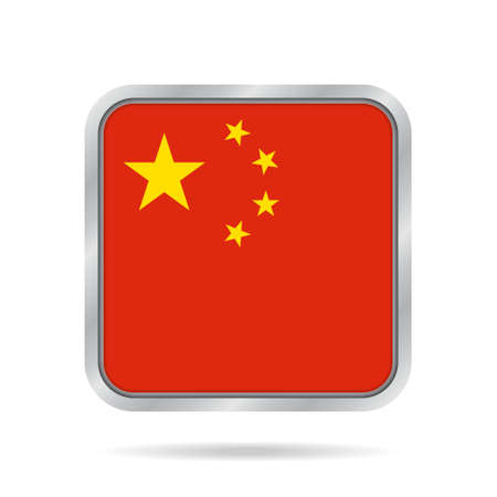 National flag of China. Shiny metallic gray square button with shadow.