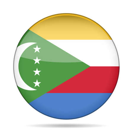 National flag of Comoros. Shiny round button with shadow.