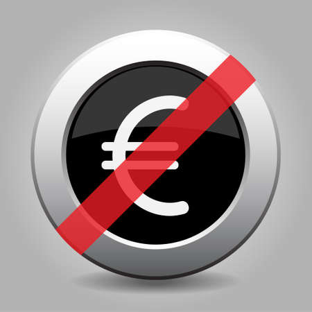 Black and gray metallic button with shadow. White euro currency symbol banned icon.