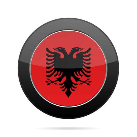 shiny black: National flag of Albania. Shiny black round button with shadow.