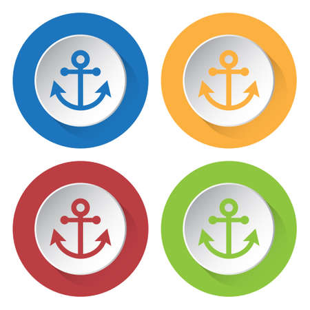 Set of four round colored buttons and icons - anchor.