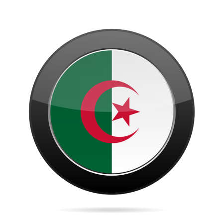 shiny black: National flag of Algeria. Shiny black round button with shadow.