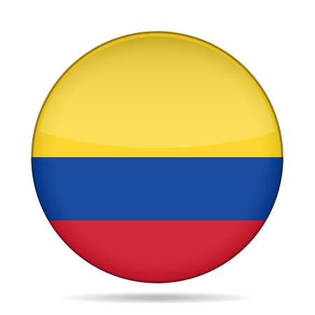 republic of colombia: National flag of Colombia. Shiny round button with shadow.