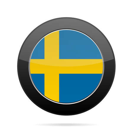 shiny black: National flag of Sweden. Shiny black round button with shadow.