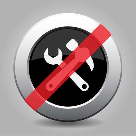 Black and gray metallic button with shadow. White claw hammer with spanner banned icon. Illustration