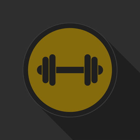 dumbell: yellow round button with black dumbbell icon and long shadow