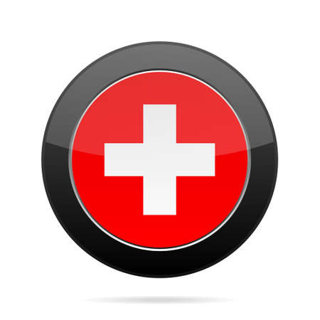 glossy button: National flag of Switzerland. Shiny black round button with shadow. Illustration