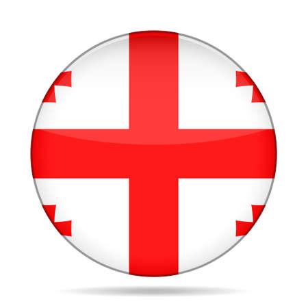 georgian: National flag of Georgia. Shiny round button with shadow.