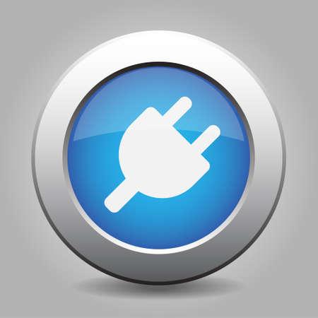 metallic button: Blue metallic button with shadow. White electrical plug symbol icon.
