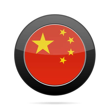 National flag of China. Shiny black round button with shadow. 向量圖像