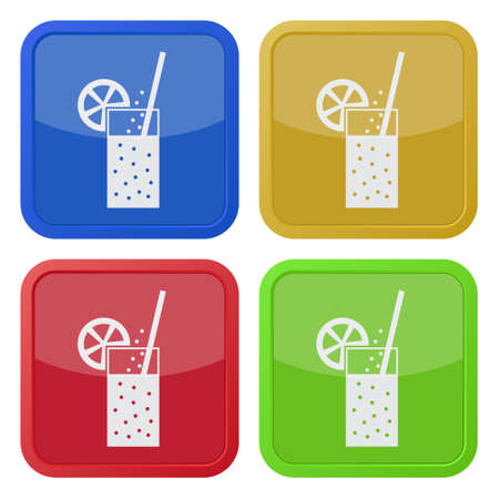 carbonated beverage: Set of four square colored buttons and icons. Glass with carbonated drink, straw and citrus.