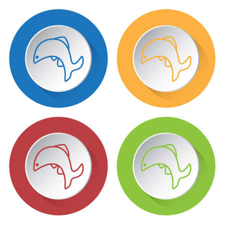Set of four round colored buttons and icons. Jumping fish.