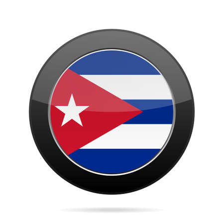 shiny black: National flag of Cuba. Shiny black round button with shadow.