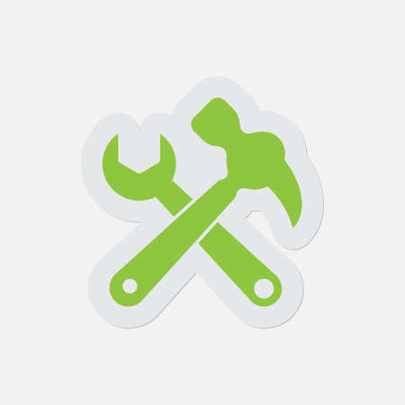 assignments: simple green icon with light gray contour and shadow - claw hammer with spanner on a white background Illustration