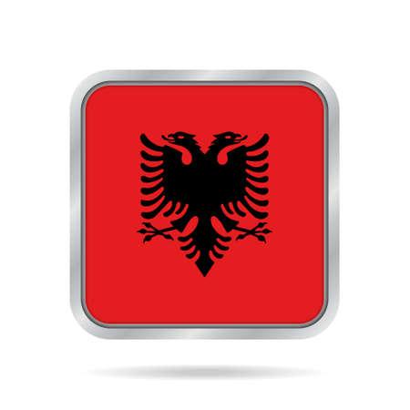 metal button: National flag of Albania. Shiny metallic gray square button with shadow.