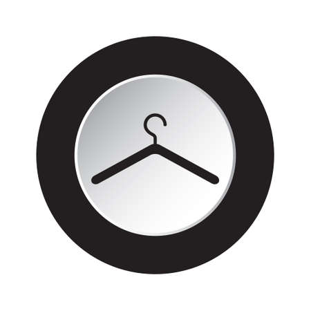 clothing rack: isolated round black and white button with black clothes hanger icon Illustration